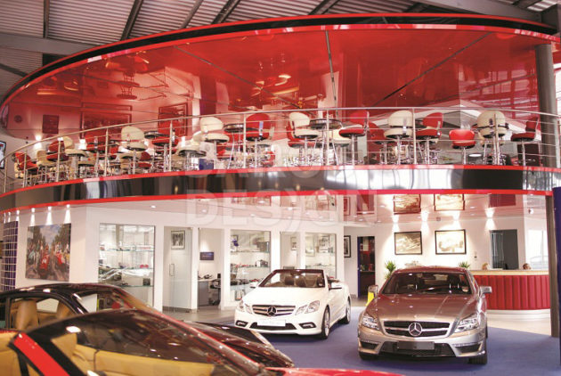 Stretch ceiling at a car dealership in London